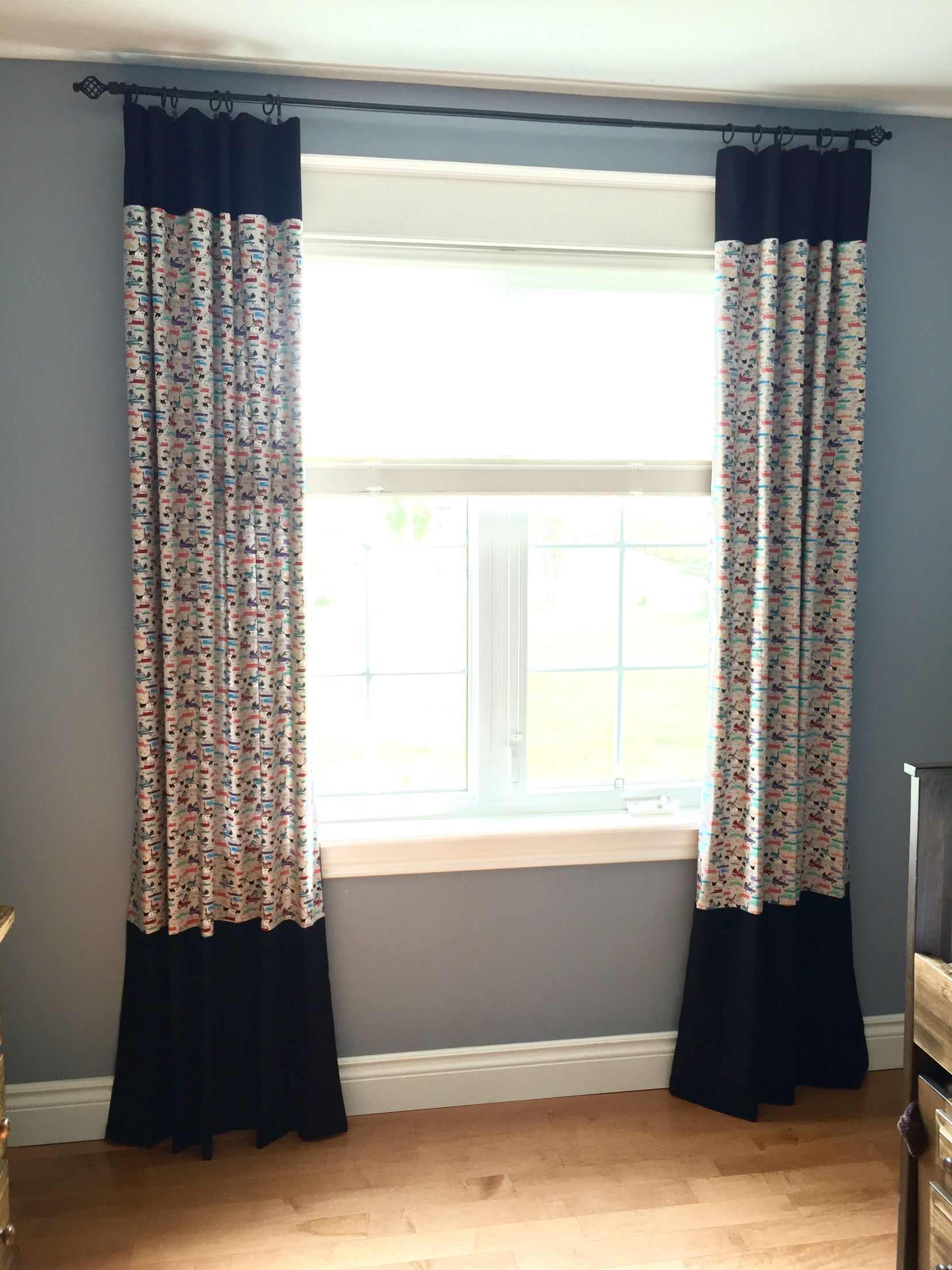 Cops N' Robbers car chase curtains complete! My very first set of curtains. Loving this fabric by Samarra Khaja   SammyK Fabrics, found online at the Fabric Hut. I have so much to learn about sewing and I'm learning more each and every stitch.  #policetheme #diymommy #kidsfabric #beginnersewing #customcurtains