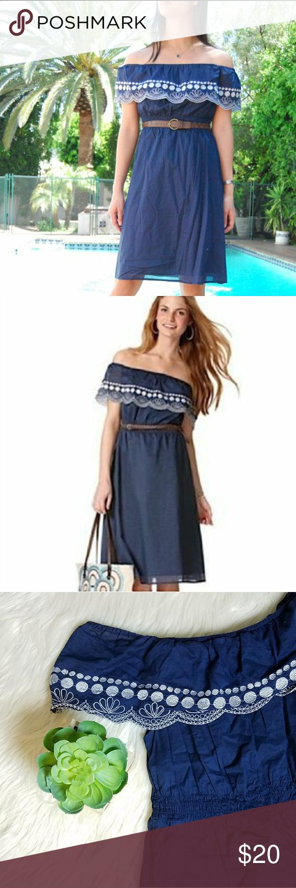 Calypso Target Navy Blue Off The Shoulder Dress Clothes Design Dresses Shoulder Dress [ 1740 x 580 Pixel ]