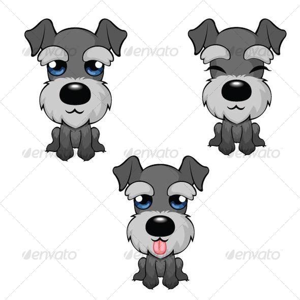 Cartoon Miniature Schnauzer Cachorros Adorables Dibujo De Perro