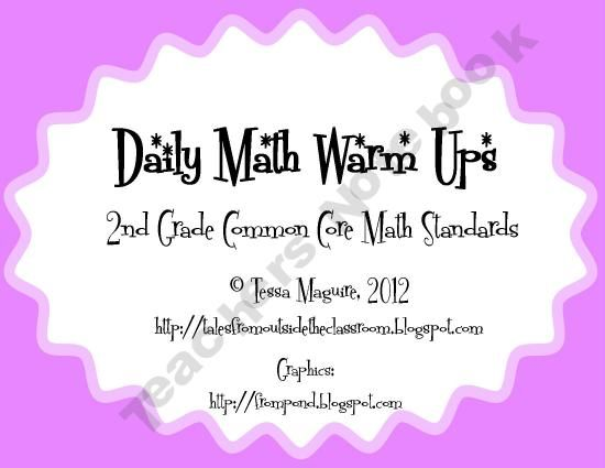 Common Core Math Warm Up- 2nd Grade Freebies