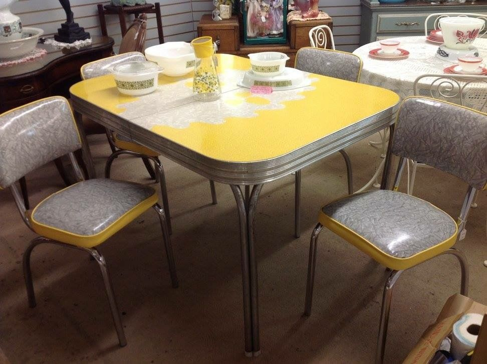 1950u0027s Vintage Formica And Chrome Dining Set Mid Century Rare Yellow And  Oakleaf #MidCenturyModern