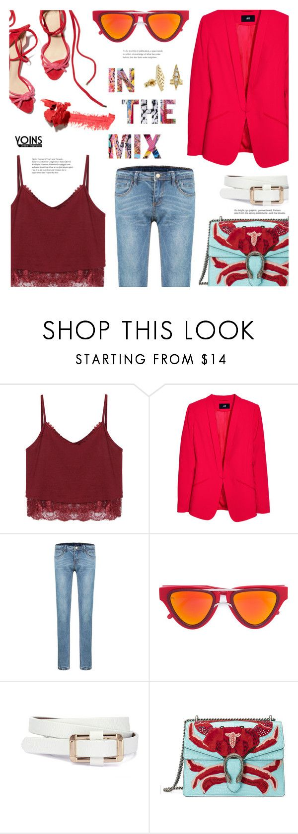 """""""Yoins #14"""" by chocolate-addicted-angel ❤ liked on Polyvore featuring H&M, Smoke x Mirrors, Gucci, Grace Lee Designs, Beautycounter, yoins, yoinscollection and loveyoins"""