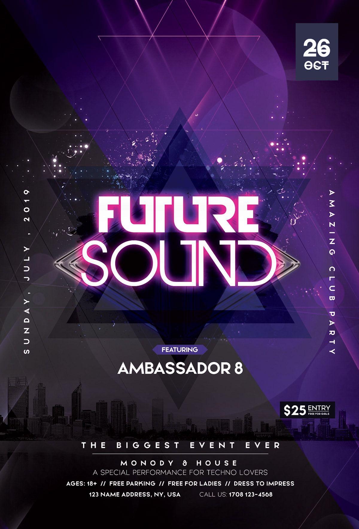 Future Sound Free Futuristic PSD Flyer Template