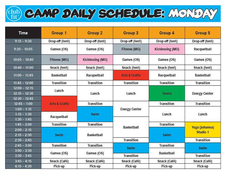 Monday Daily Activity Schedule Summer Camp Club Fit border=
