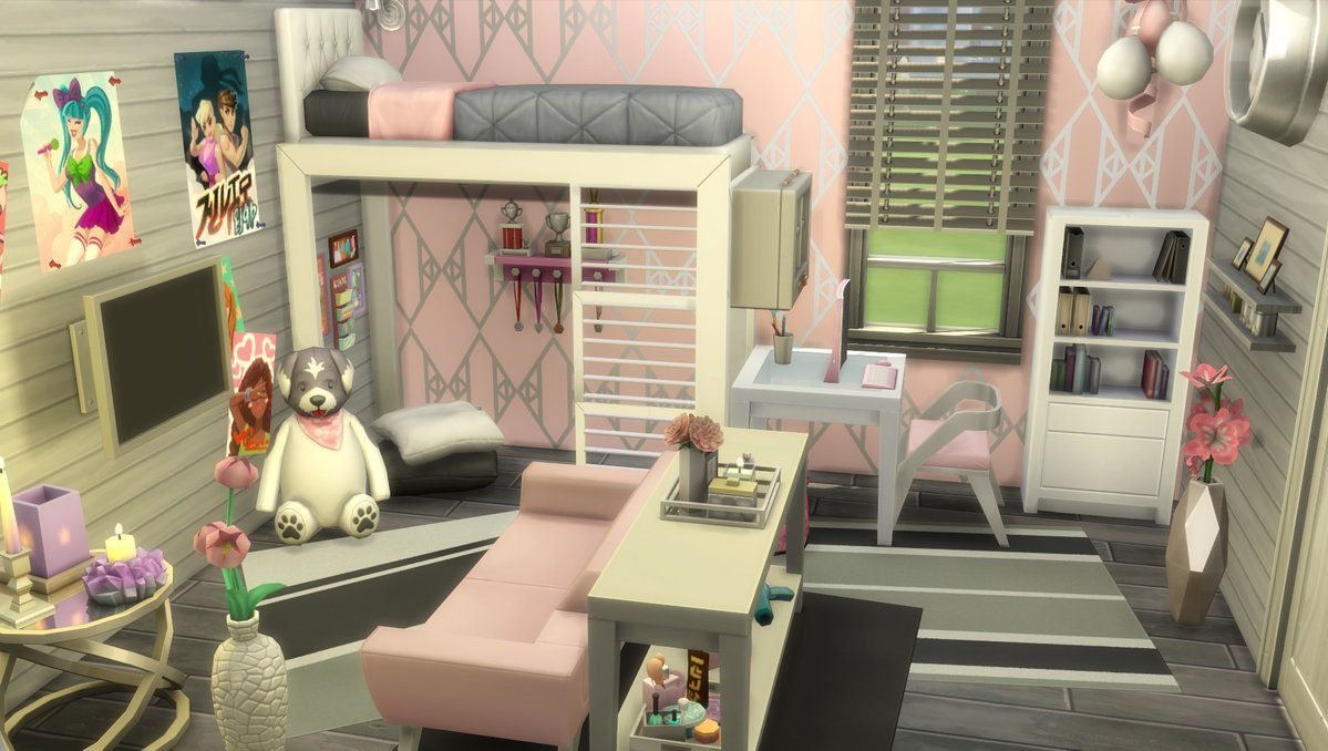 Esszimmer Sims 4 Nocc Sims 4 Teen Bedroom In Grey And Pink Colors Sims 4