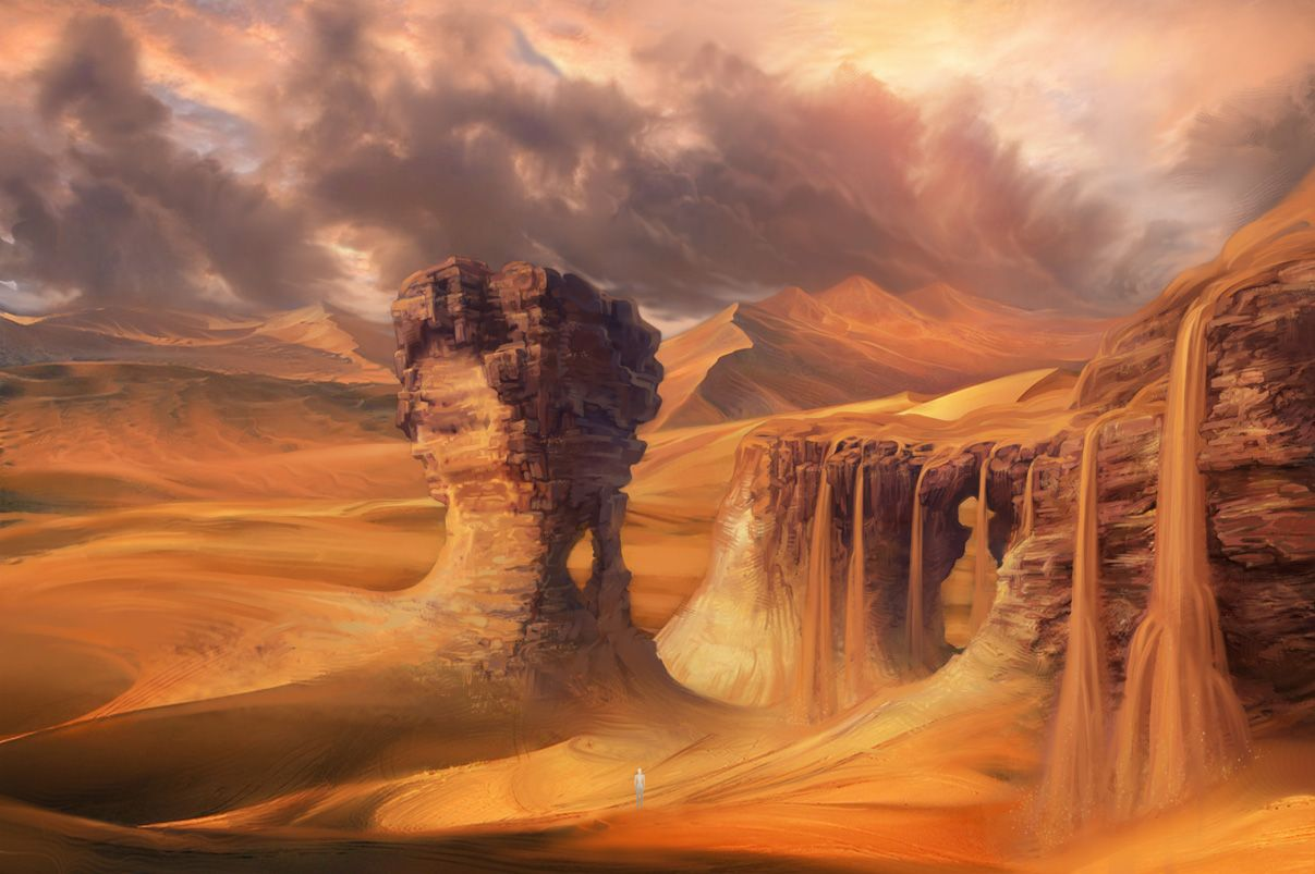 Desert Waterfall Concept By Patheagames On Deviantart Fantasy Landscape Fantasy Art Landscapes Landscape Concept