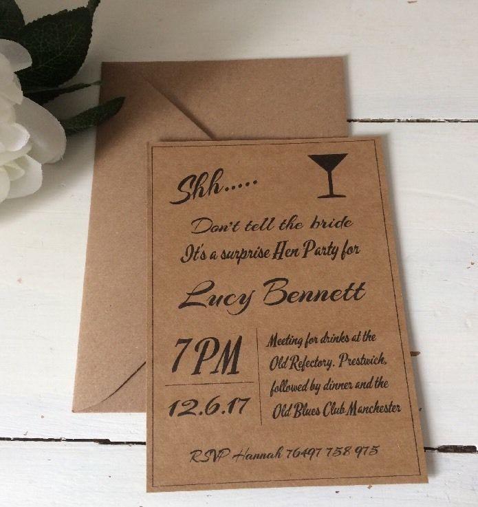 1 Personalised Handmade Kraft Secret Hen Party Invite Shh Don\'t Tell ...