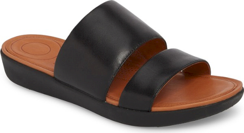 2b6d842f8 Fitflop Delta Slide Sandal in Black. Sleek double bands bridge the vamp of  a standby slide sandal featuring dual-layer DuocomFF midsoles that diffuse  ...