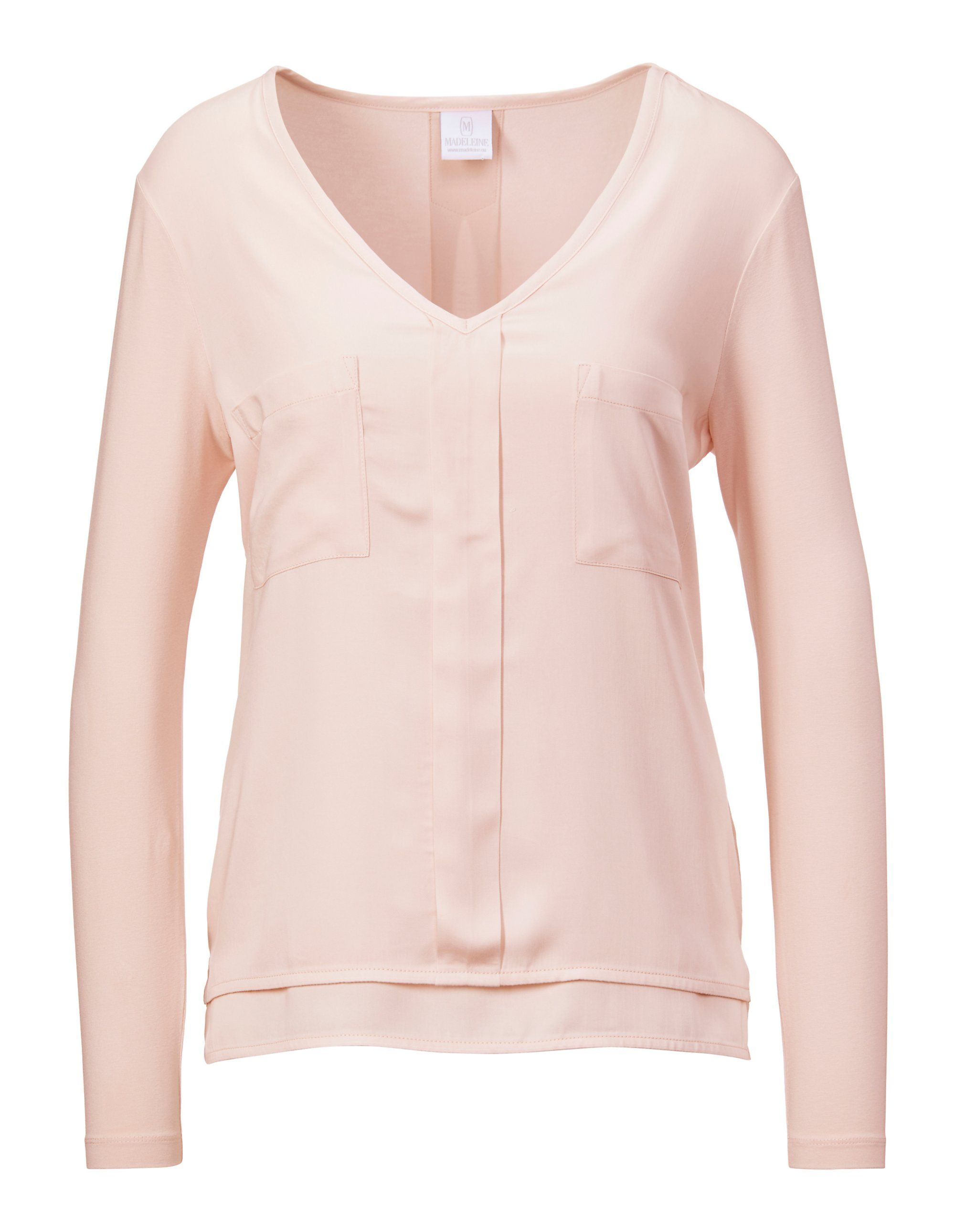 Bluse mit aufgesetzten Taschen in rosa MADELEINE Gr 44, puderrose für Damen. Viskose. Waschbar