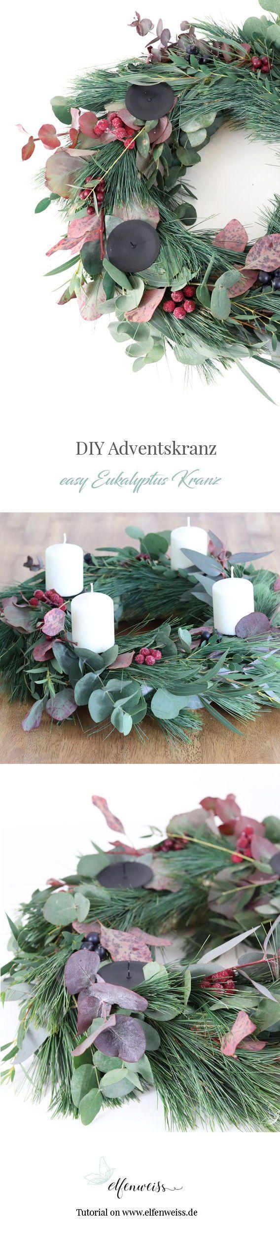 DIY Eukalyptus Kranz & Adventskranz #diygardendecor
