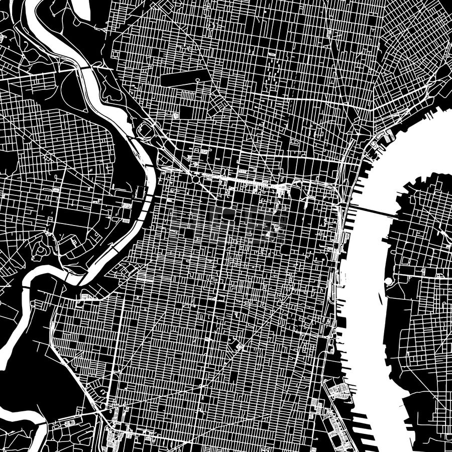 Philadelphia, United States, Downtown Vector Map | United states and ...