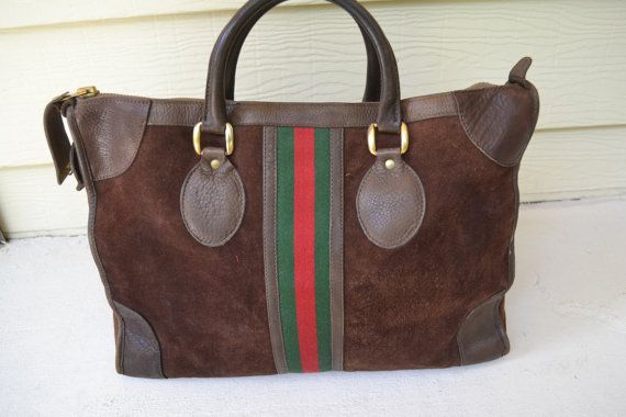 a01b31264ff vintage GUCCi red   Green stripe SUEDE leather carry on by dna714 ...
