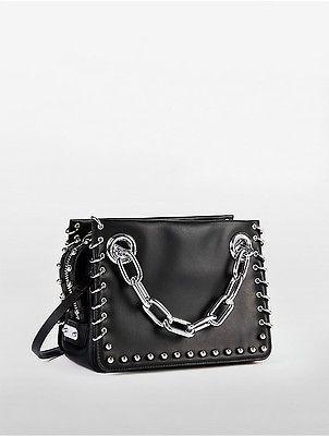 Calvin Klein Womens Platinum Flared Pierced Small Satchel Black ... 85908bbb4