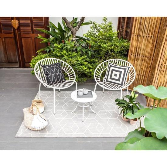 Salon De Jardin En Metal 2 Personnes Opoa Blanc Avec Images