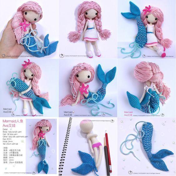 English: Crochet Doll Pattern-Mermaid-Ava艾娃. (A crochet doll with 2 look, mermaid or little girl)