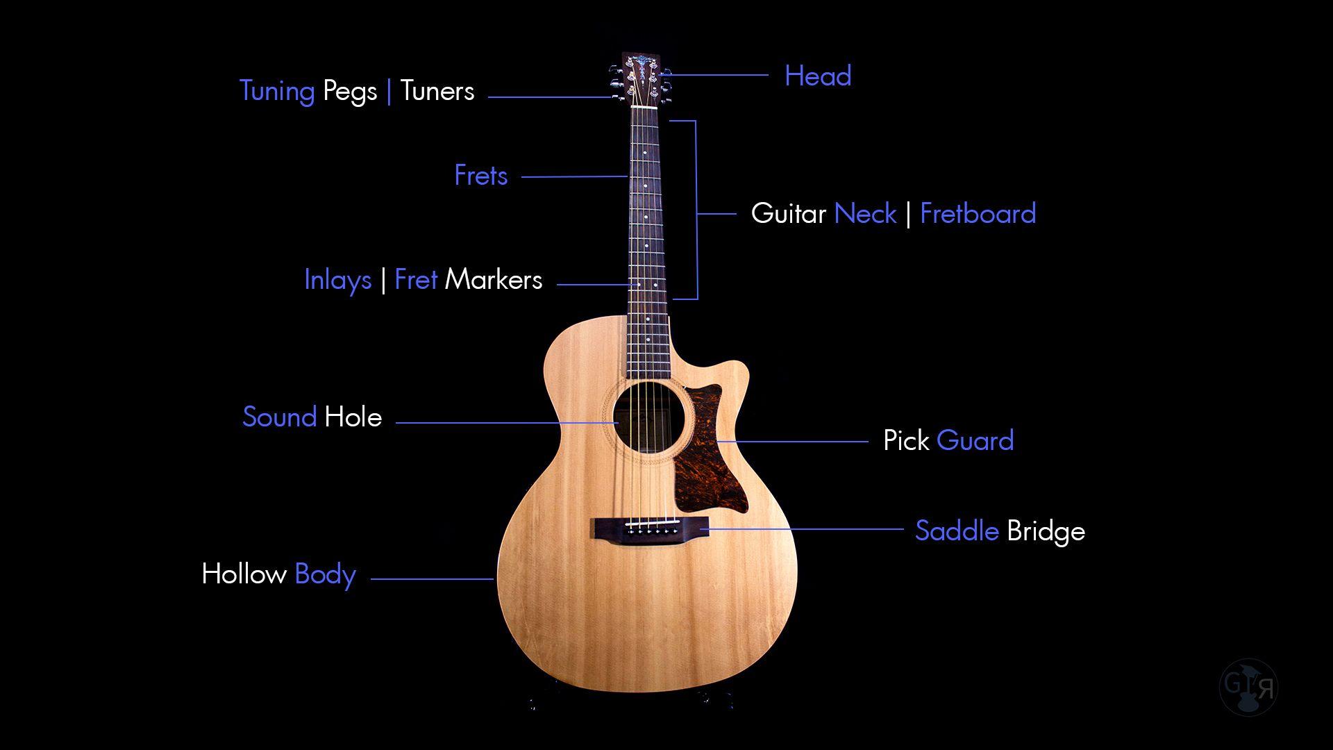 Acoustic Guitar Anatomy Full Body Diagram Guitar Guitar Lessons Acoustic Guitar Tattoo