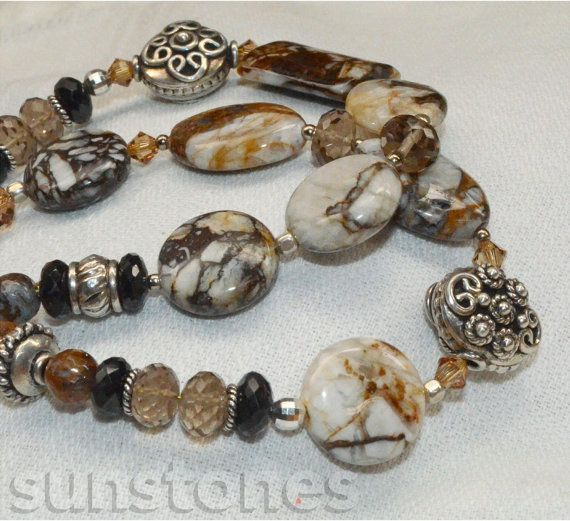 Brioche Agate Spinel Smoky Quartz and Sterling Silver by SunStones, $79.95