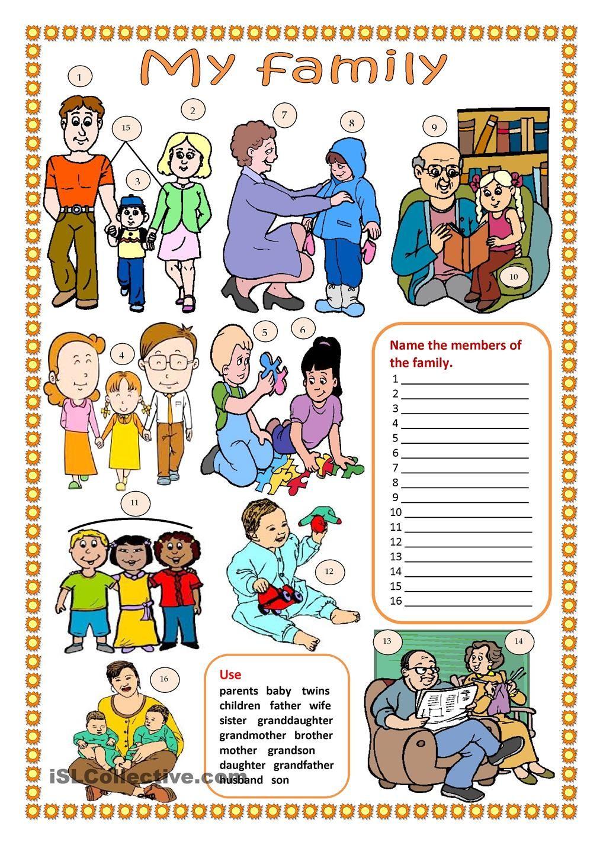 My family ( worksheet) Vocabulario en ingles