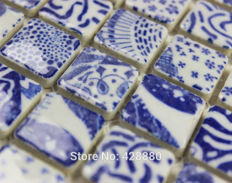 Tile Kitchen Backsplash Blue Amp White Mosaic Shower Tile