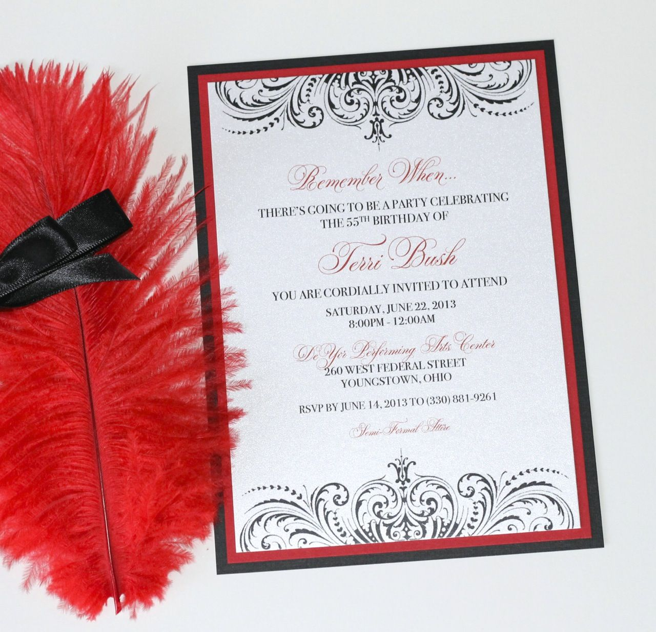 Embellished Paperie Blog | Custom 55th Birthday Invitation – Moulin ...