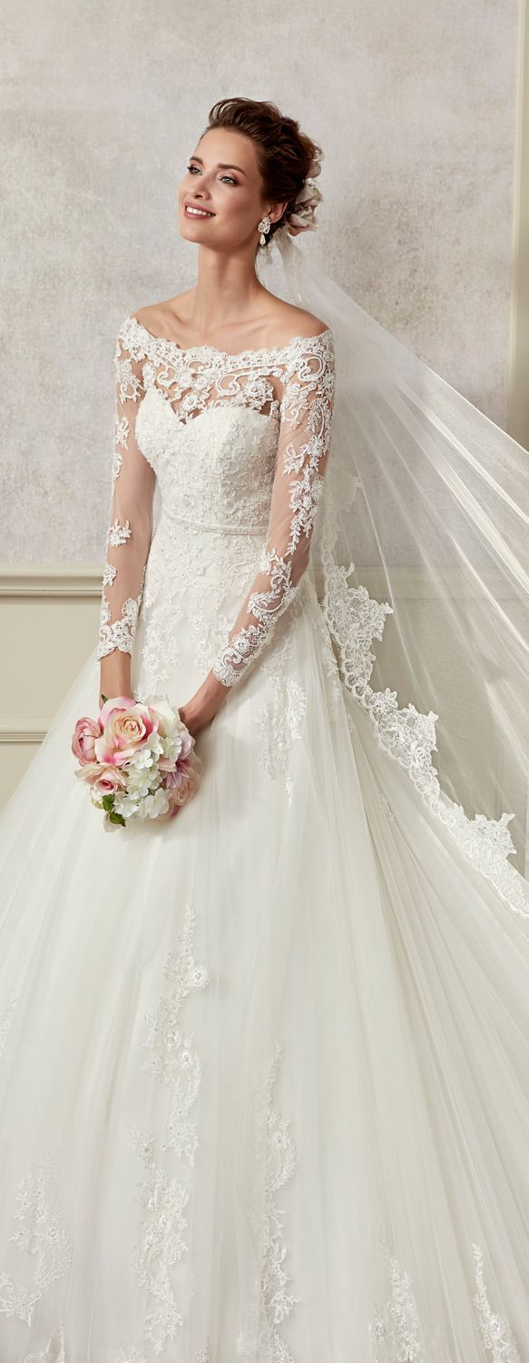 Ivory wedding dresses with sleeves  Long sleeve lace ballgown fashion dress by Allure Bridals