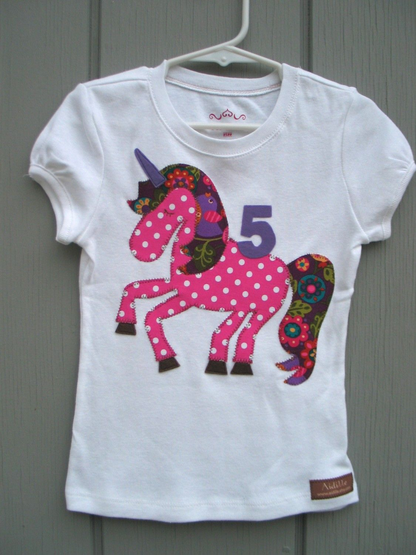 Unicorn Girl Birthday Shirt with Age Number. 32.00, via