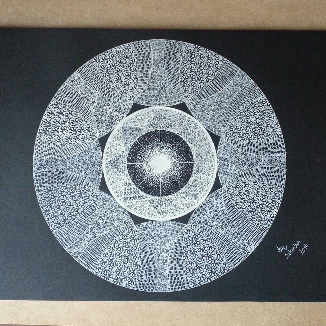 One of my works. Made by and with a simple white gel pen and a black paper. More at www.facebook.com/a.ana.darte