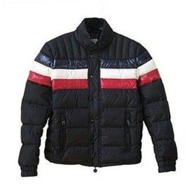 France Moncler Striped Technical Menuire Sport Black Jacket Men Online
