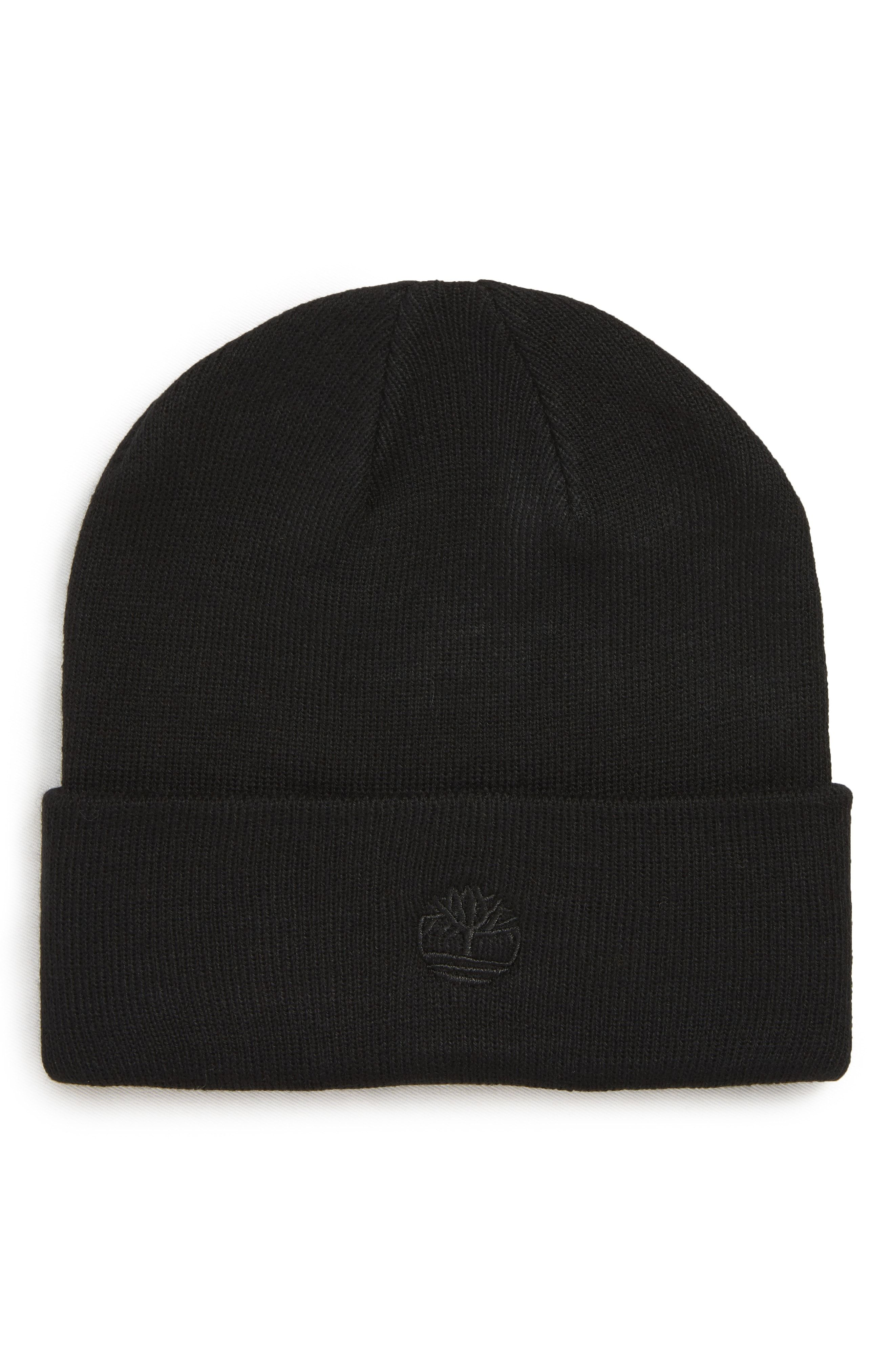 54662a777 TIMBERLAND EMBROIDERED LOGO CUFF BEANIE - BLACK. #timberland ...