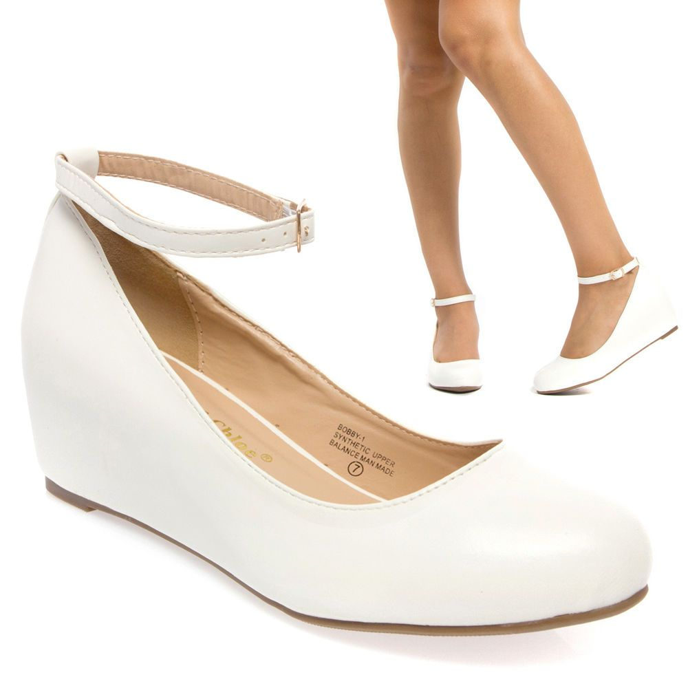 2414932675 Sale White Mary Jane Ankle Strap Med Low Hidden Wedge Heel Ballet Flat Pump  8 #ChaseChloe #PlatformsWedges