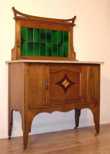 Antique Edwardian Arts Amp Crafts Oak Marble Top Tile Back