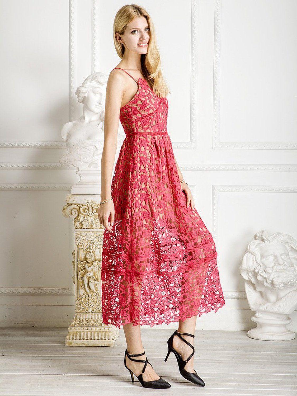 aefd72140a7a Choies Women's Polyester Red Spaghetti Strap Backless Lace Crochet Dress  Medium: Amazon Fashion