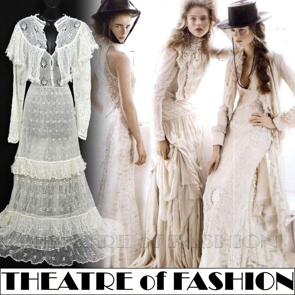 Vintage crochet dress s m white wedding lace victorian s