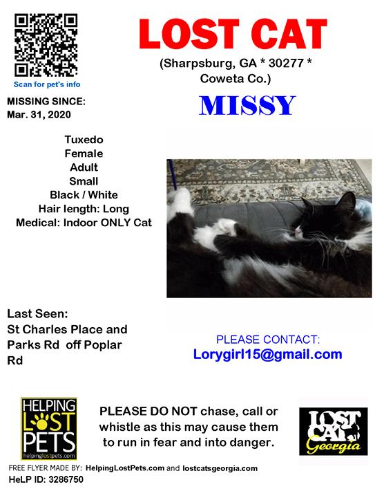 Lost Cat Sharpsburg GA Mar.31 2020 Closest
