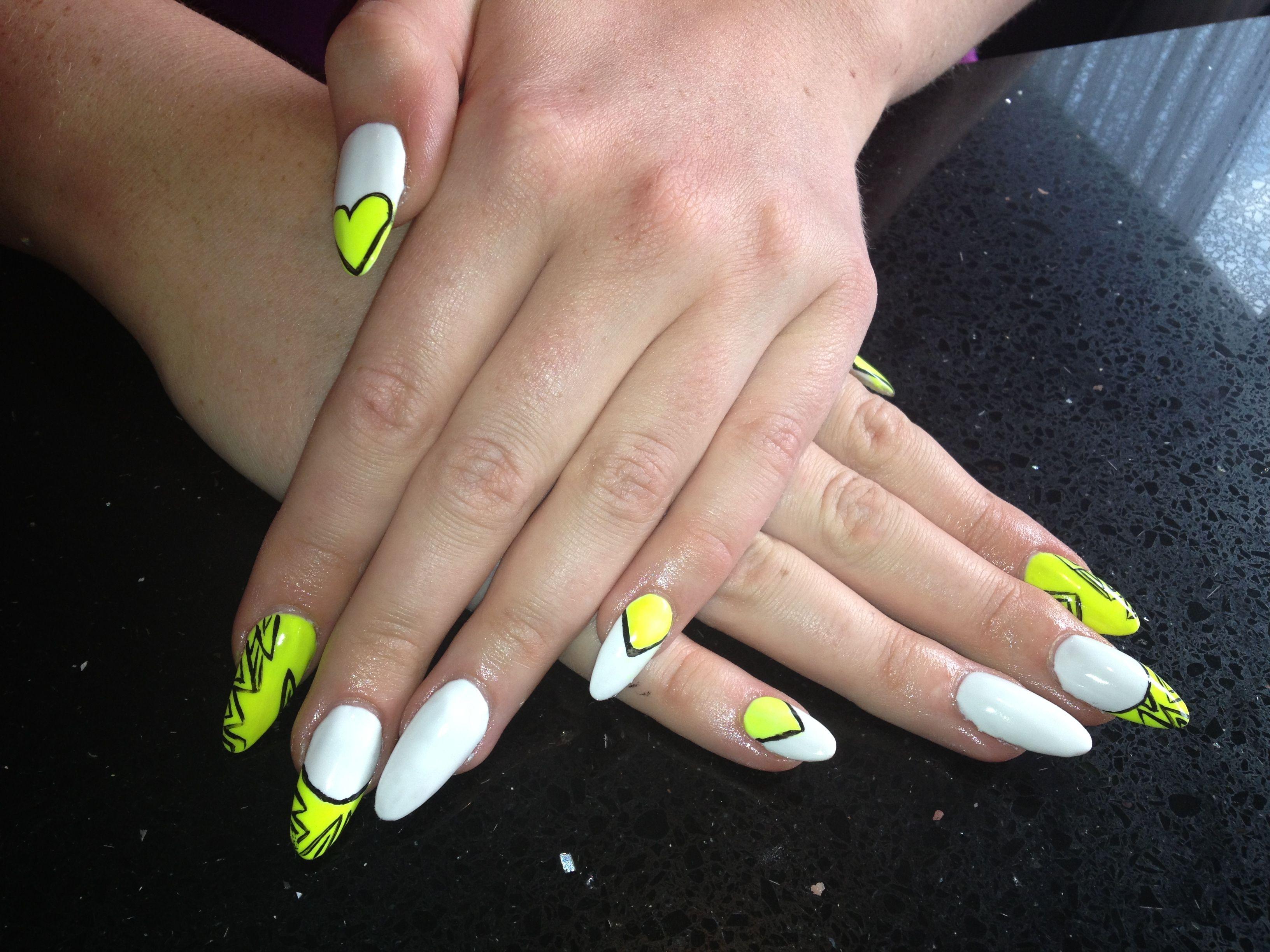 Neon and white almond nails | Nail Art | Pinterest