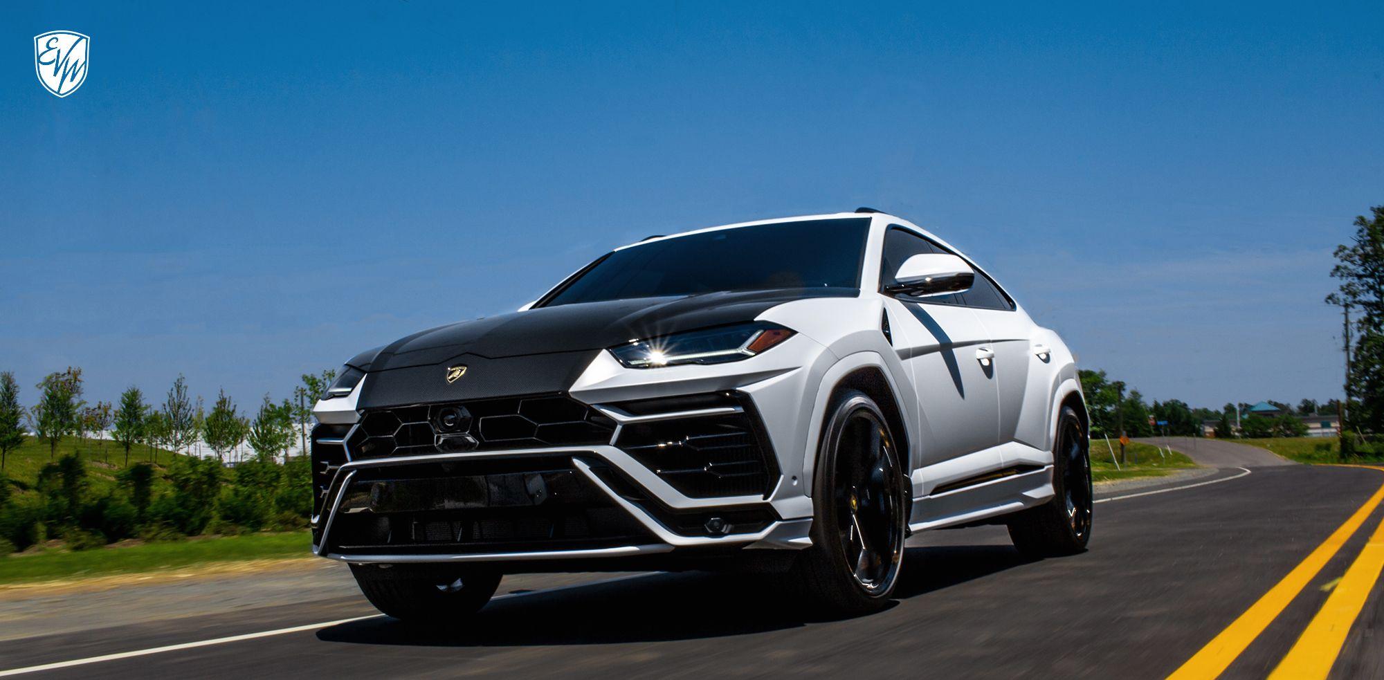 Lamborghini Urus Wrapped In Satin White With Carbon Fiber Accents White Lamborghini Lamborghini Bmw Car