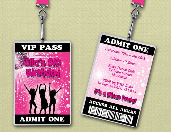 Disco Dance Personalised VIP Lanyard Birthday Invitations x 10