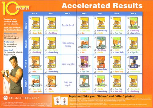 10 Minute Trainer Accelerated Results 10 Minute Trainer Tony Horton 10 Minute Workout Workout Calendar