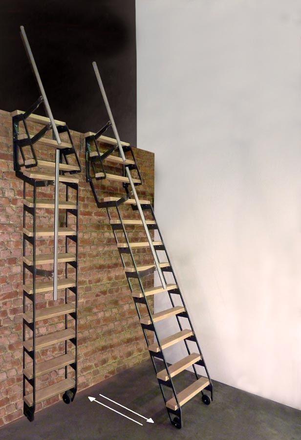 zip up chelle escalier escamotable espace sous combles pinterest escalera altillo y. Black Bedroom Furniture Sets. Home Design Ideas