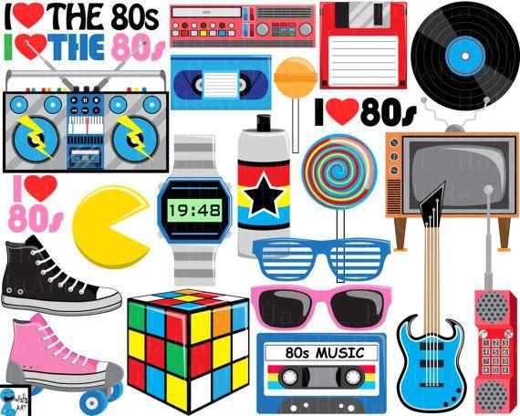 love 80s v2- digital clipart