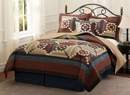 Virginia Patch Rustic Red Country Star Quilts By American