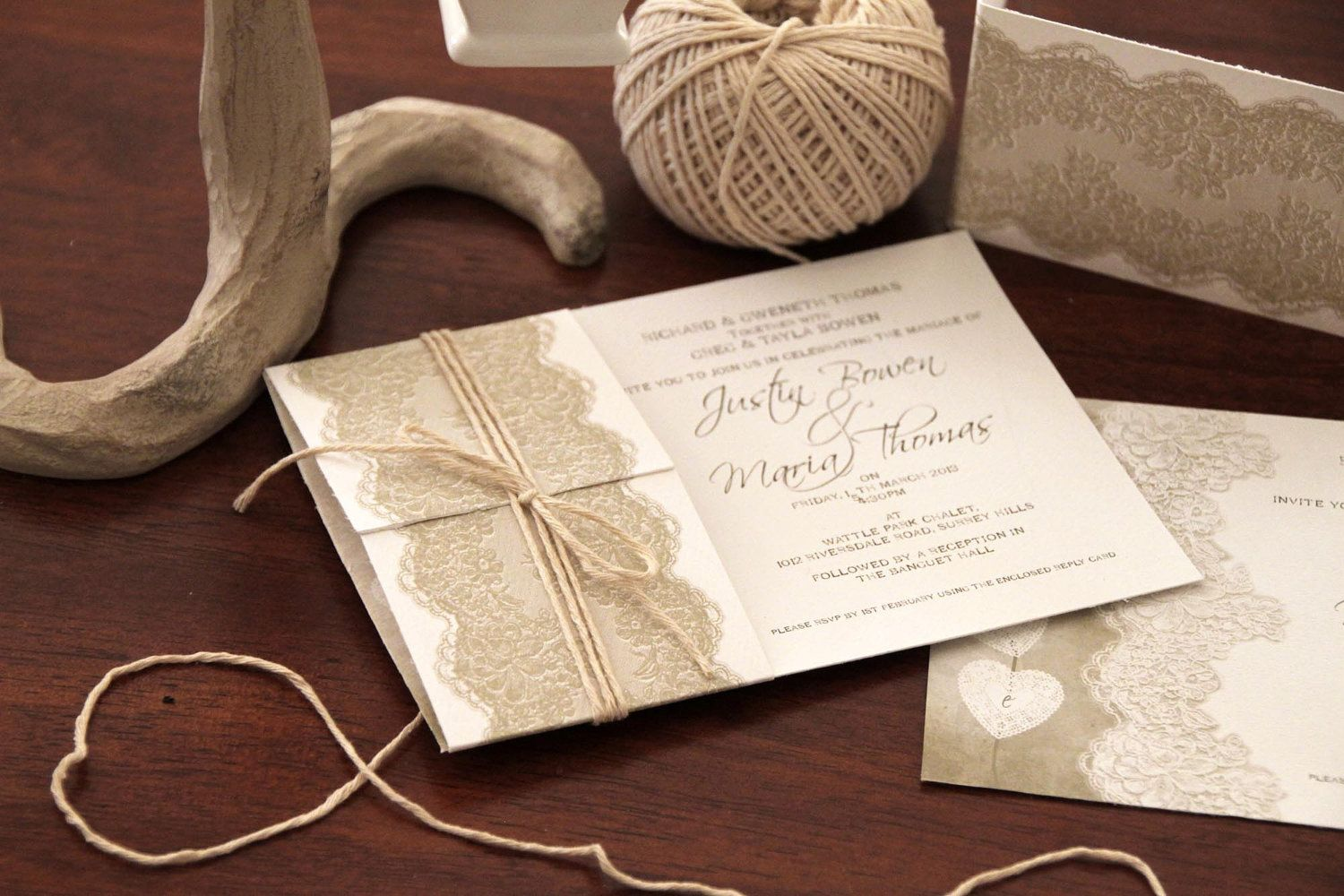 Printable wedding invitations vintage lace by uponatimedesigns