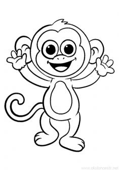Maymun Boyama Sayfasi Okuloncesitr Preschool Boyama Sayfalari Hayvan Boyama Sayfalari Maymunlar