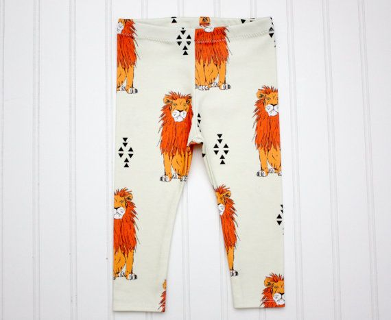 ORGANIC Cotton Knit Baby Lion Leo Loewen Leggings by milchundhonig