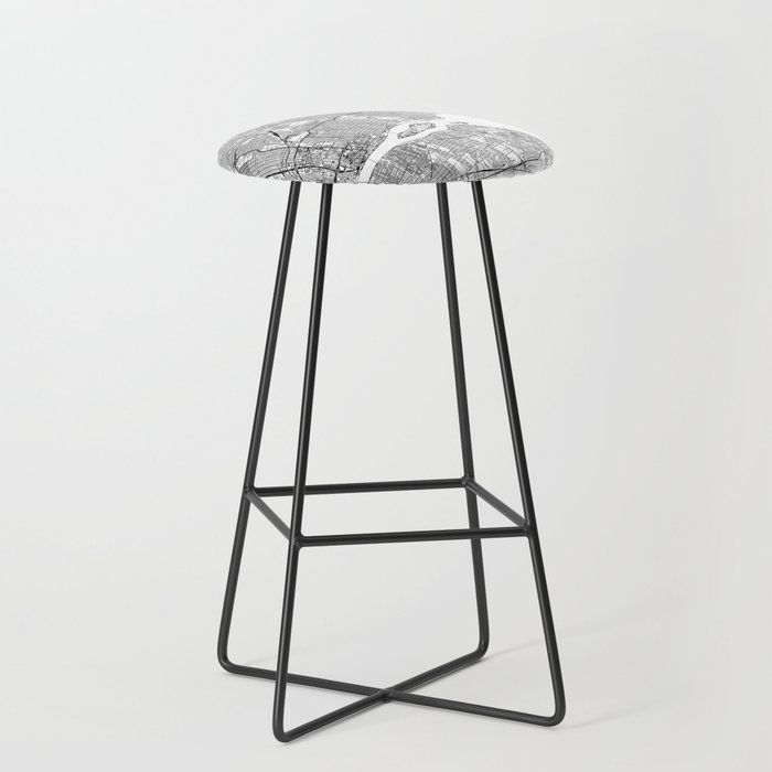Detroit White Map Kitchen Bar Stool by Multiplicity Black