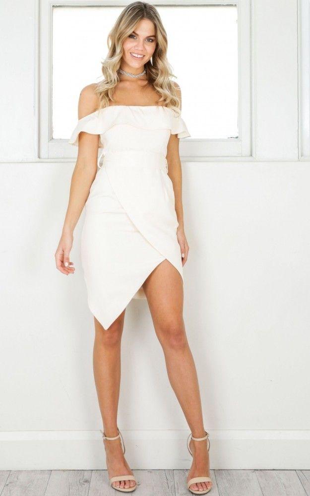 fd9ce63e9b36 Blush Frill Off Shoulder Wrap Bottom Dress