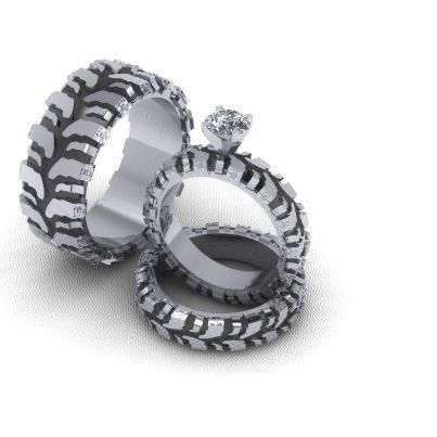 mud tire wedding set and groom ring - Mud Tire Wedding Rings