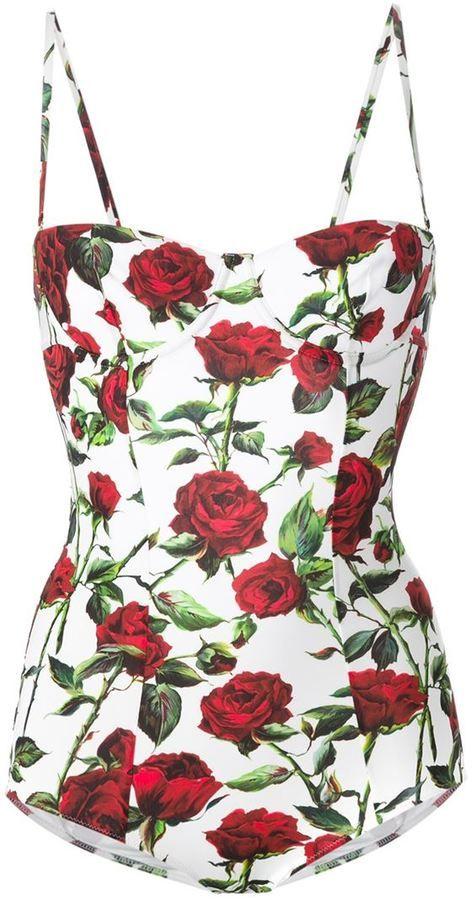 f419ba5ff4a74 Dolce   Gabbana rose print swimsuit