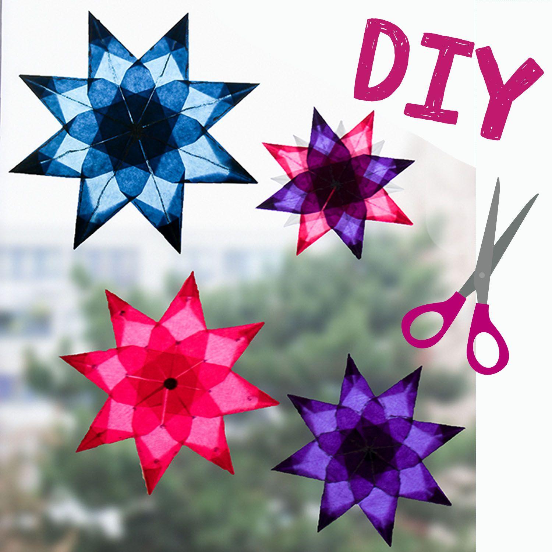 ⭐️ DIY ⭐️ Anleitung einfache Sterne aus Transparentpapier falten ⭐️ Sterne basteln fürs Fenster ⭐️