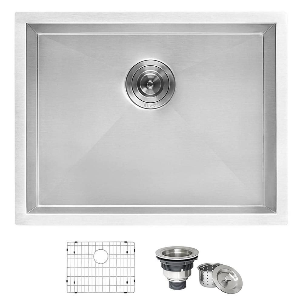 Ruvati 23 In X 18 In Single Bowl Undermount 16 Gauge Stainless Steel Laundry Utility Sink Rvu6100 The Home Depot Utility Sink Stainless Steel Utility Sink Sink